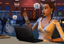 A Sim using a laptop