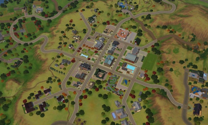 Zoomed out view of the world from The Sims 3 Pets