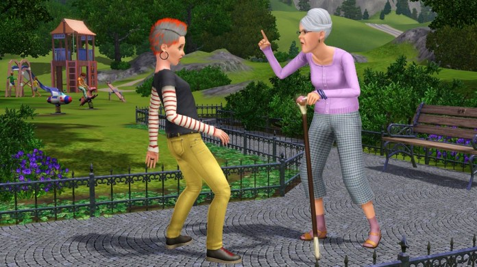 An elder telling off a rebellious teen in The Sims 3 Generations