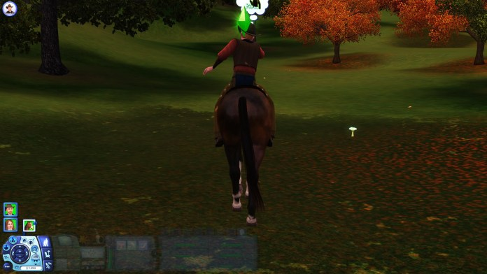 Third person camera with a Sim riding on a horse
