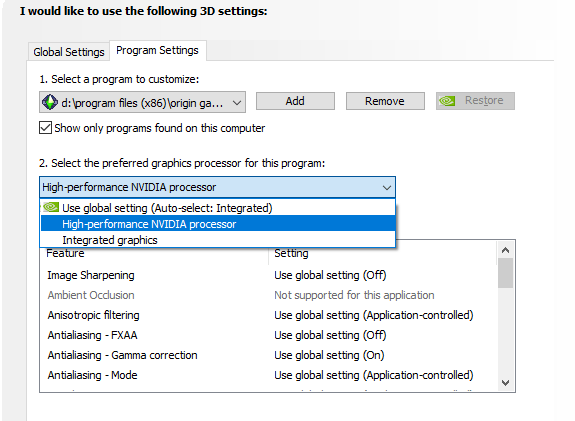 Sims 2 settings in the NVIDIA panel