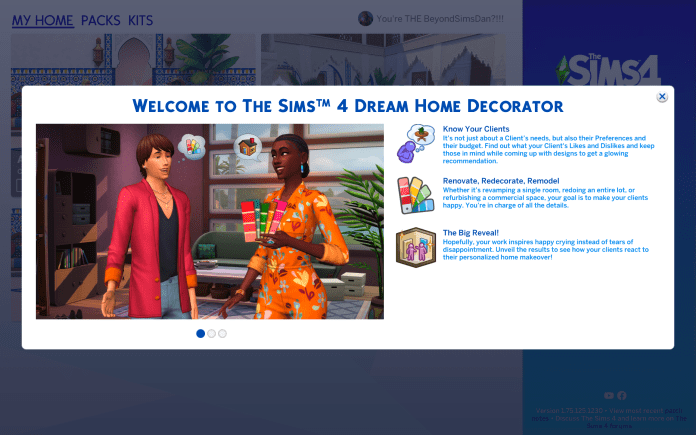 Sims 4 Dream Home Decorator Welcome Screen