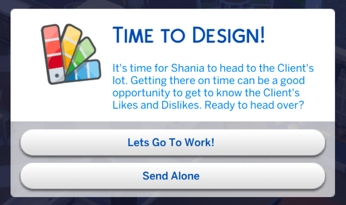 A dialog appears at the start of the gig so you can travel to the lot or send your Sim alone