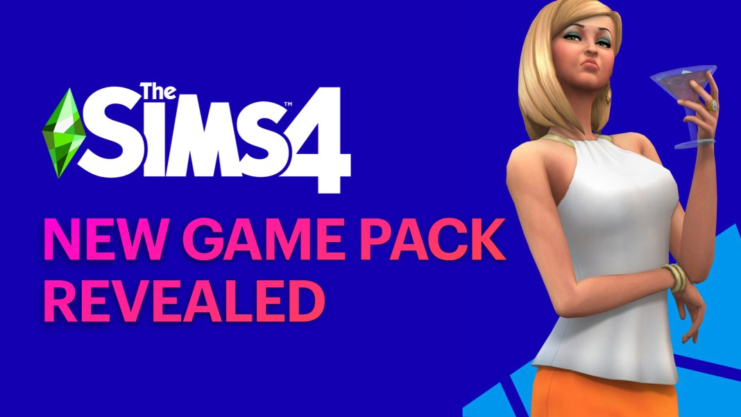 Text reads Sims 4 Game Pack Revealed