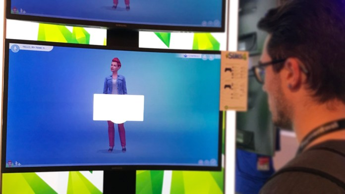 Dan creating a Sim on The Sims 4 on PS4
