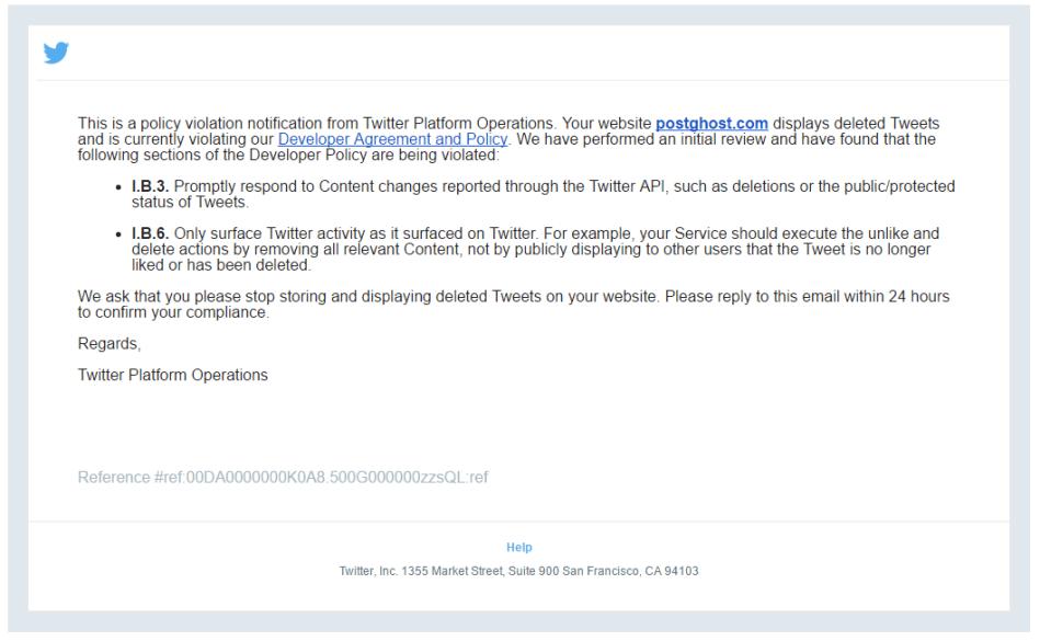 Twitter Cease & Desist Leter To Postghost.com