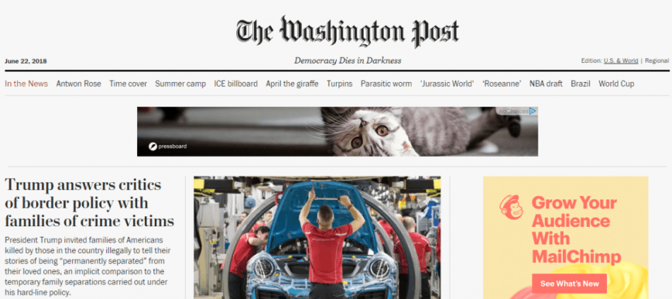 Screenshot: I Want Cats on Washington Post