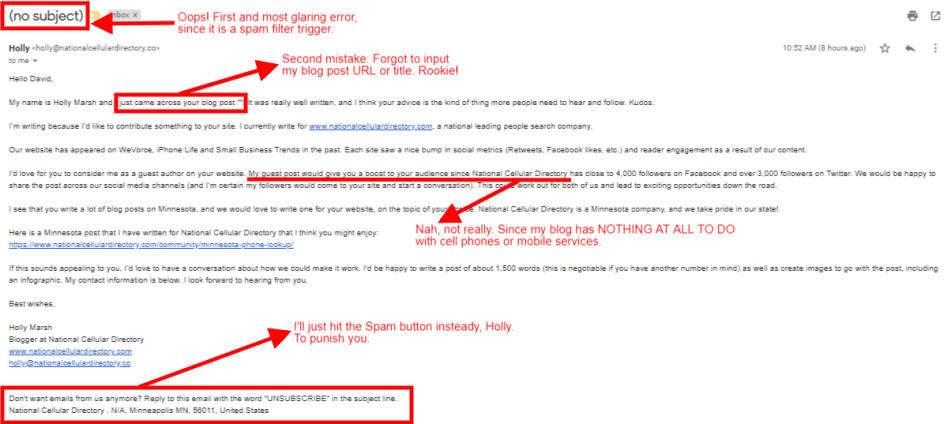 Screenshot: National Cellular Directory Spam Email
