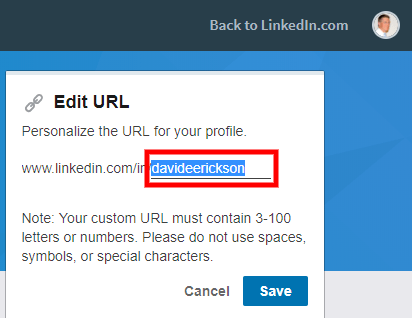 Screenshot - Edit LinkedIn URL Save