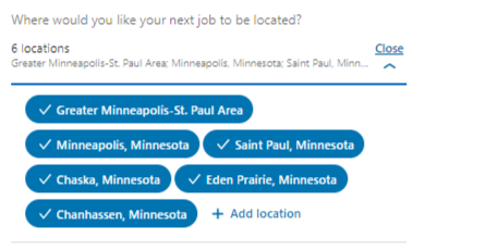 Screenshot: LinkedIn - Job Location