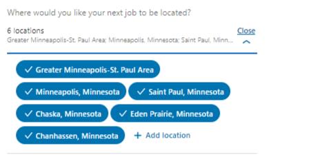 Screenshot: LinkedIn - Job Location