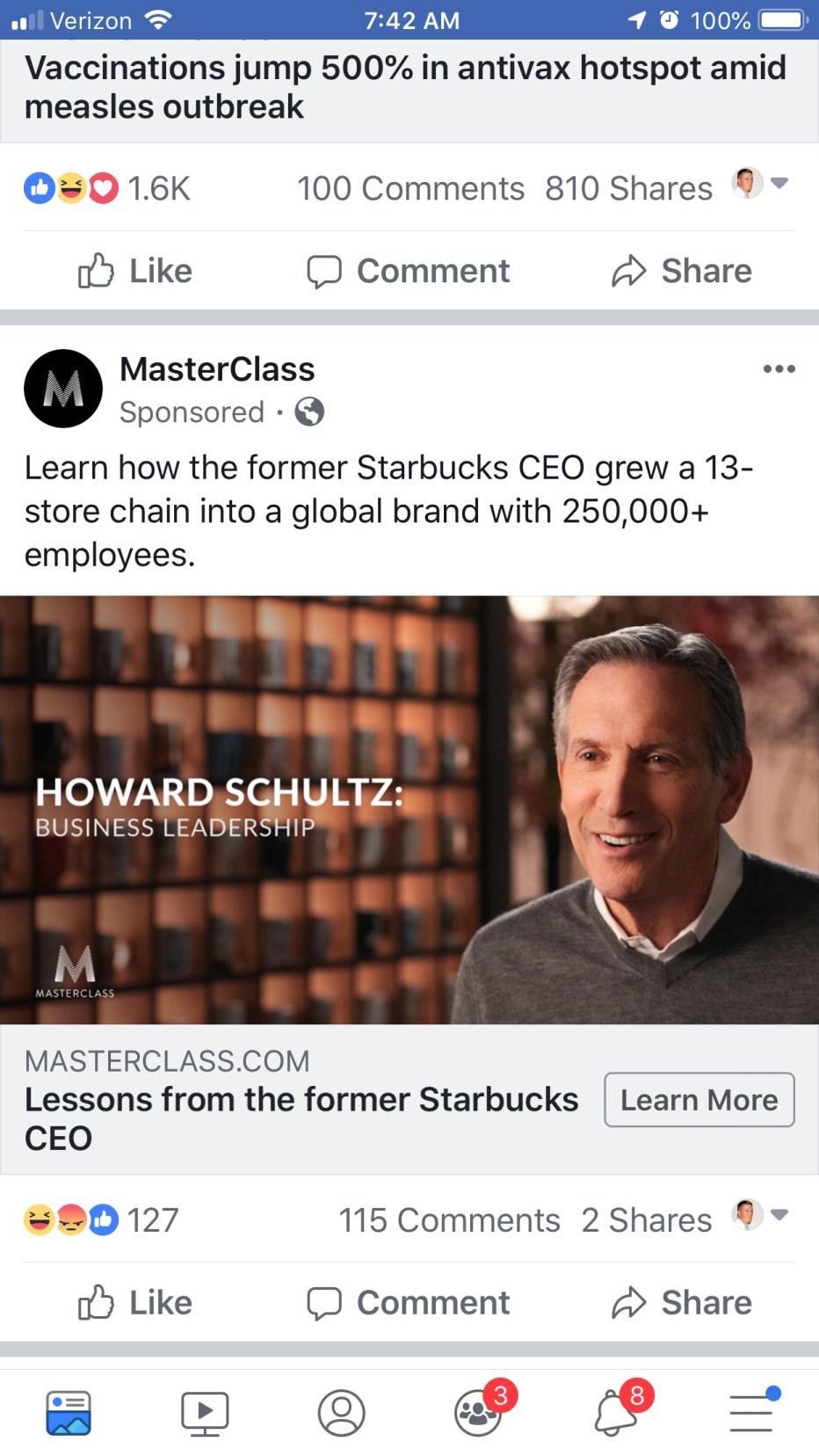 Howard Schultz MasterClass Facebook ad.