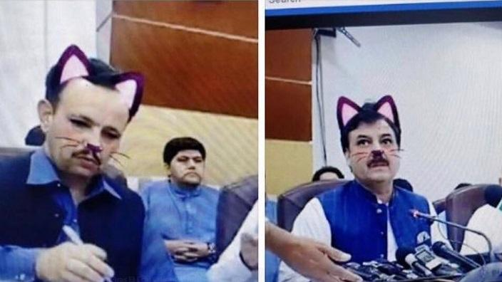 Pakistani government officials forgot to turn off the cat face filter during a Facebook Live press conference.