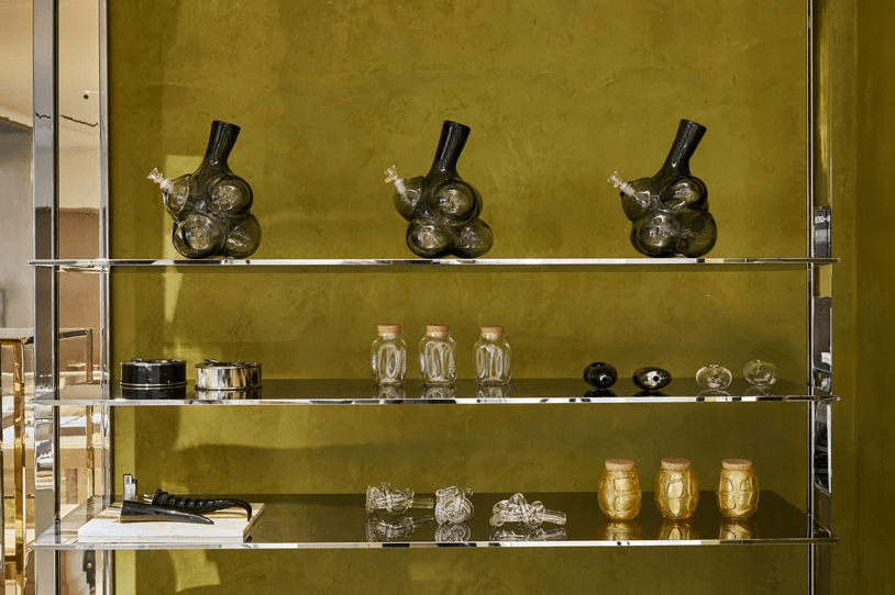 """Accessories at Barney's """"High End"""" cannabis studio"""