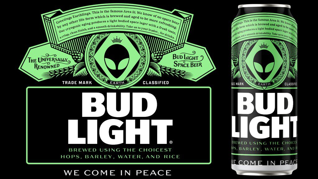"Bud Light is offering Space Beer to aliens who escape during ""Storm Area 51"" event."