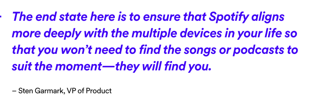 Spotify VP explains how Spotify will work with multiple devices.