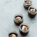 Earl grey chocolate pots de creme with creme fraiche and shaved chocolate