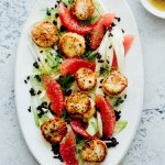 Seared scallops grapefruit and shaved fennel salad