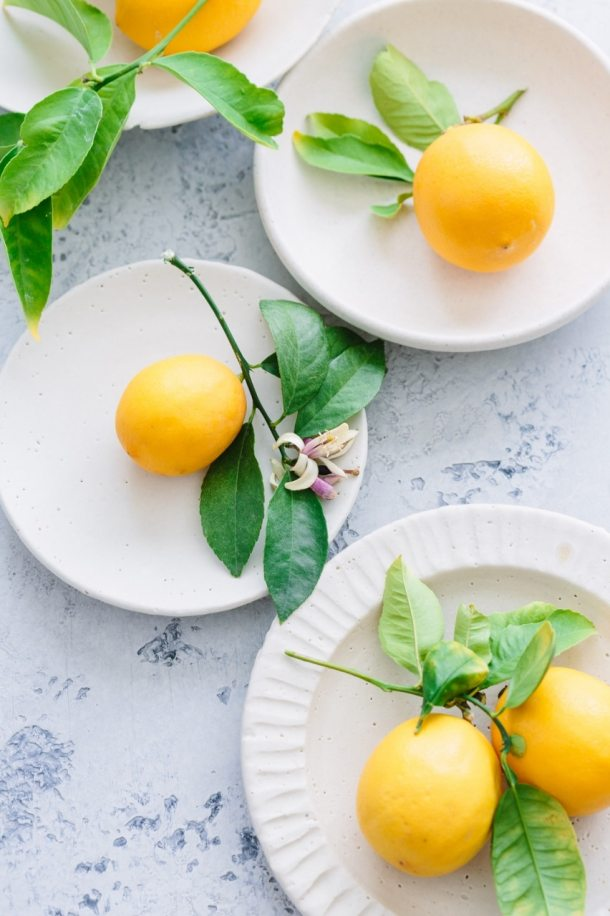 plates of Meyer lemons
