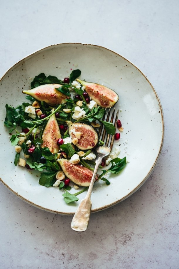 fig watercress goat cheese salad