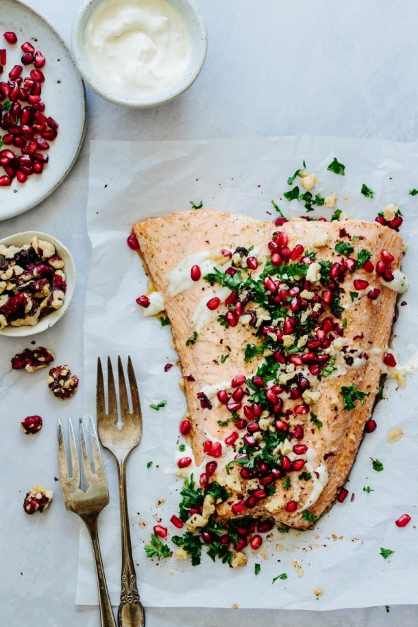 harissa roasted salmon with two serving forks
