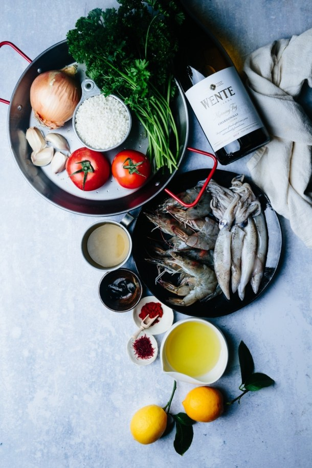 Arroz negro squid ink paella - Beyond Sweet and Savory
