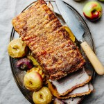 Fennel roasted pork belly with cider apples