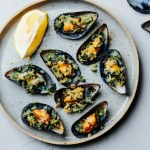 Wild garlic ramp mussels