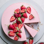 No bake strawberry creme fraiche cheesecake on a platter
