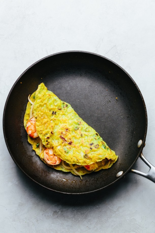 pan with folded crepe