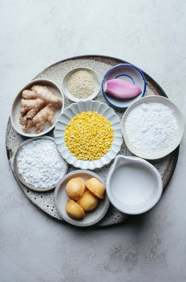 ingredients for glutinous rice balls with ginger, rice flour, palm sugar, coconut cream, glutinous rice, shallot, toasted sesame, and mung bean