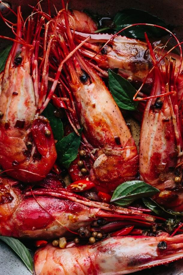 close up of cooked tamarind prawns