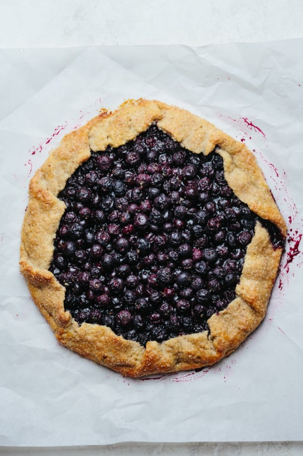 a baked blueberry and mascarpone galette