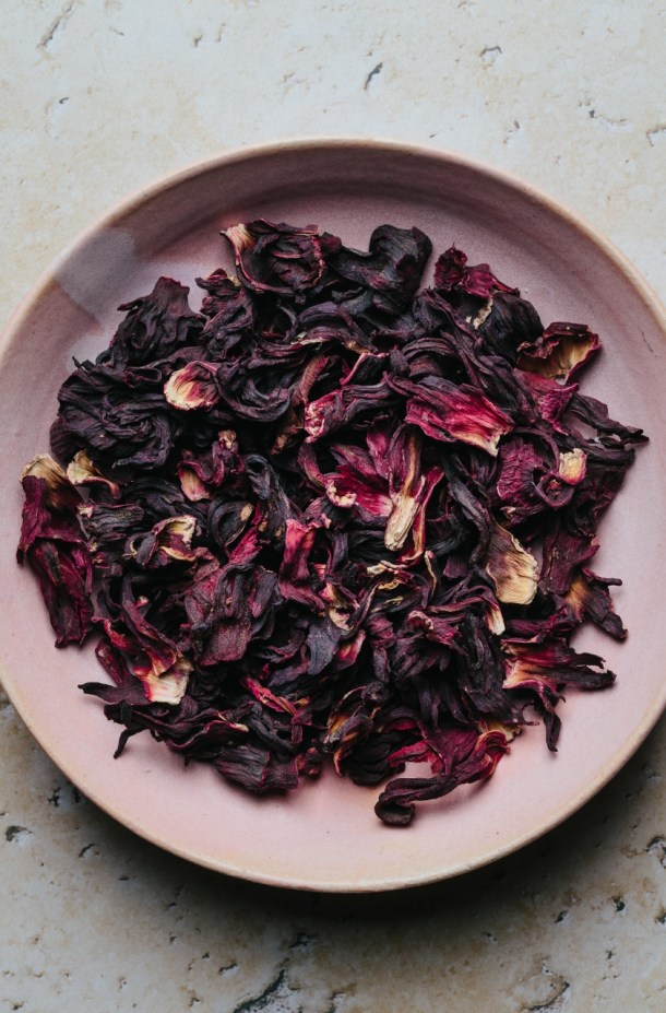 a bowl of dried hibiscus flowers