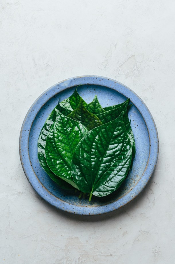a plate with betel leaves
