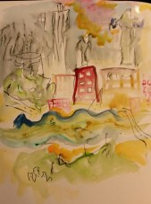 Albany on the Hudson Gouache,watercolor, and ink