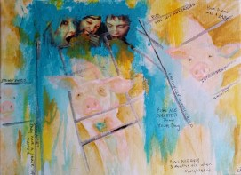 """""""Bacon Was a Baby"""" Mixed Media on Canvas By Cat Jones"""