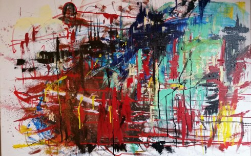 Lower East Side, 30 floors up 24 x 36 Oil and acrylic on canvas