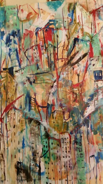 Edge of Central Park 24 x 36 Oil and acrylic on canvas