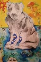My Dog Stigma. Oil, acrylic, and ink on canvas.