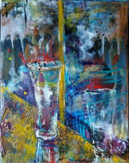 We Watched through the Glass while it All Went Down Outside. Oil on canvas.