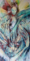 """Hungry Ghost. 24 x 48"""". Oil on canvas."""