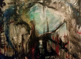 """4th Reich Rising. 16 x 20"""". Oil on canvas. By Cat Jones"""