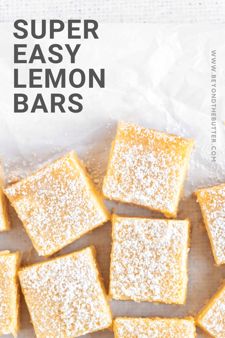 Overhead closeup image of super easy lemon bars sliced into squares | All Images © Beyond the Butter, LLC