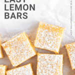 Pinterest image of super easy lemon bars from scratch | All Images © Beyond the Butter, LLC