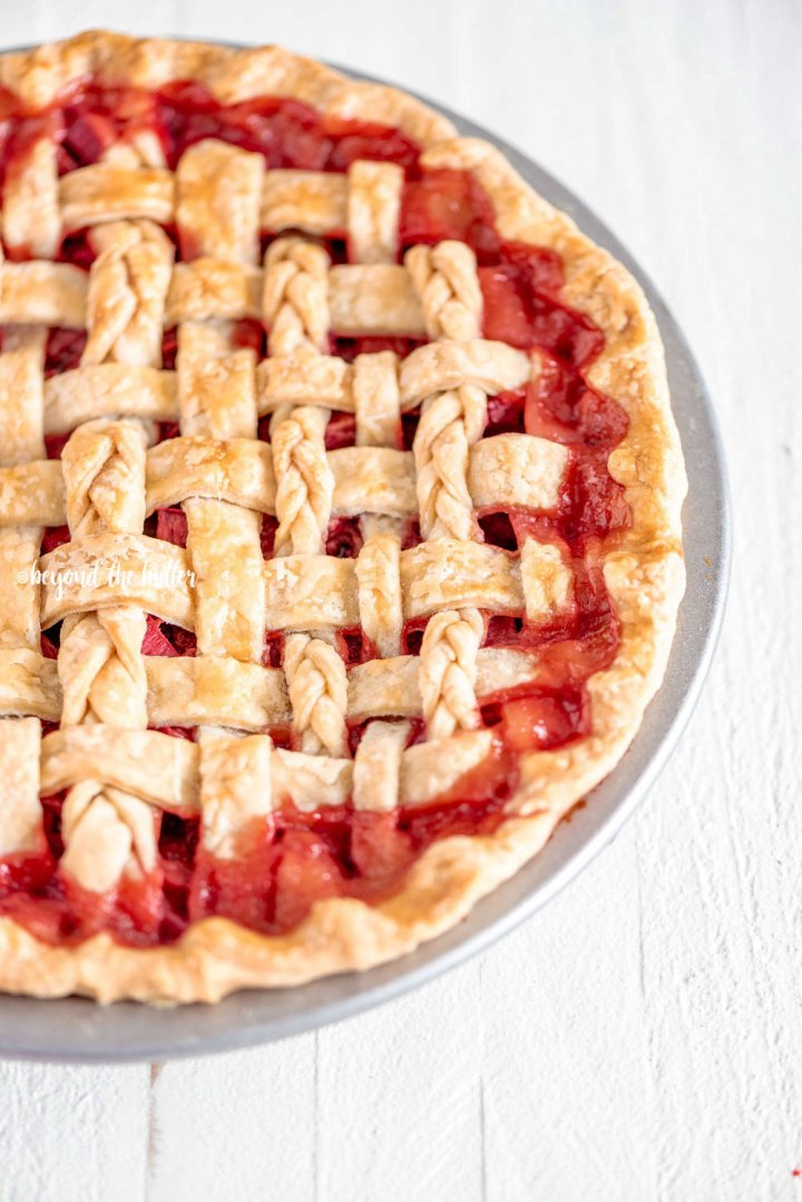 Strawberry Rhubarb Pie with Homemade Buttery, Flaky Pie Crust | All Images © Beyond the Butter, LLC