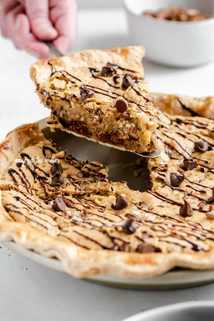 Closeup image of slice of chocolate chip pie being served | All Images © Beyond the Butter™