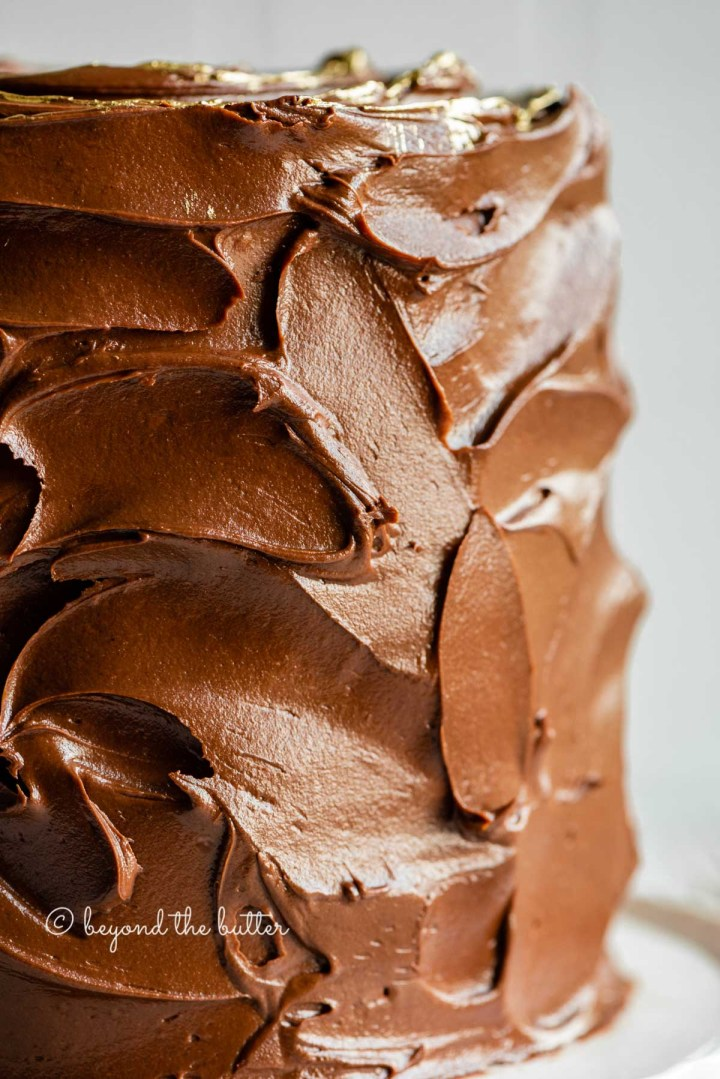Closeup image of chocolate zucchini cake with chocolate chips on a white cake stand | All Images © Beyond the Butter™
