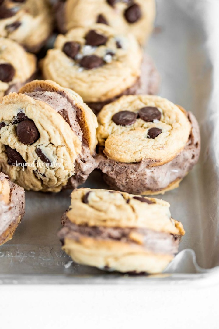 Easy Homemade Ice Cream Cookie Sandwiches with No-Churn Chocolate Ice Cream | All Images © Beyond the Butter, LLC