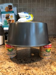 Angel Food Cake Cooling Option using two equally sized cans